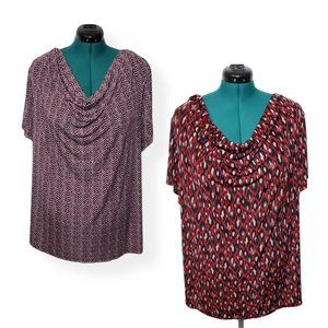 Two Jaclyn Smith Cowl Neck Blouses 3X